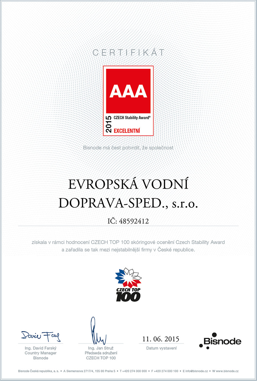 Certifikát AAA